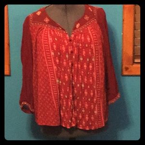 Lucky Brand red patterned shirt